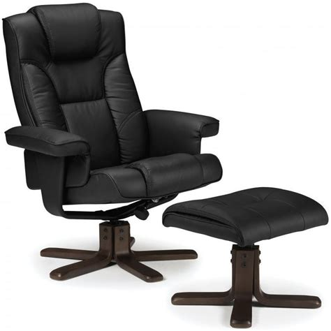 leather recliner chair with footstool buy julian bowen malmo black faux leather swivel and