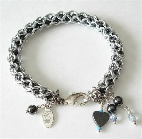how to make chainmaille jewelry captive inverted hematite chainmaille bracelet