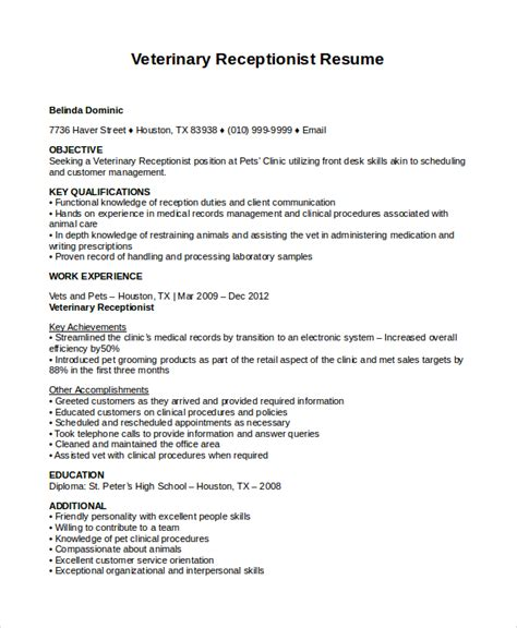 Resume Exles Veterinary Receptionist resume help receptionist