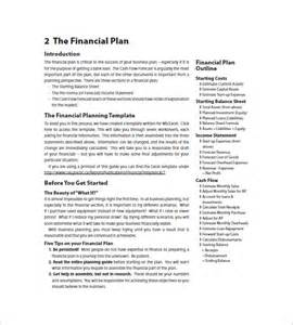 financial business plan template 8 free word excel