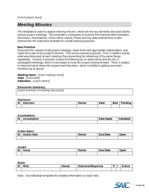 formal meeting minutes office templates