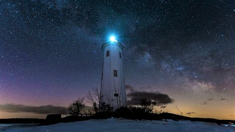 lighthouse   starry night hd wallpaper background