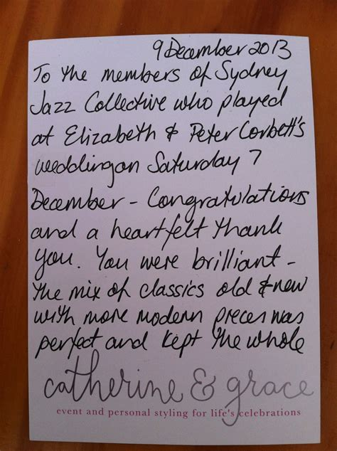 Thank You Letter To Band A Thankyou Note Sydney Jazz Collective Band
