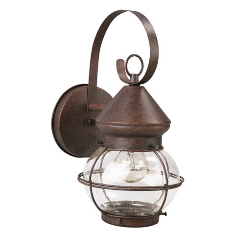 Lowes Outdoor Lights Shop Portfolio 12 4 In H Rustic Brown Outdoor Wall Light At Lowes