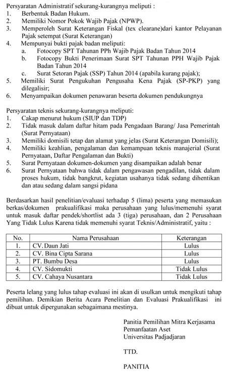 berita acara evaluasi hasil prakualifikasi contest pemilihan