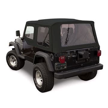 sierra offroad tj wrangler soft top & door skins: black denim