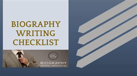 biography checklist biography writing checklist