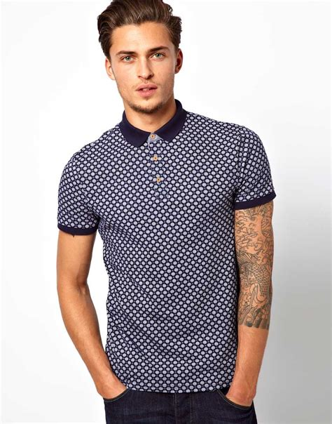 The Blue River Shirt Bombboogie river island polo shirt with all print in blue for