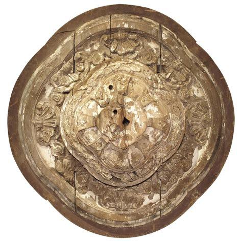 large 18th century parcel paint wooden ceiling medallion
