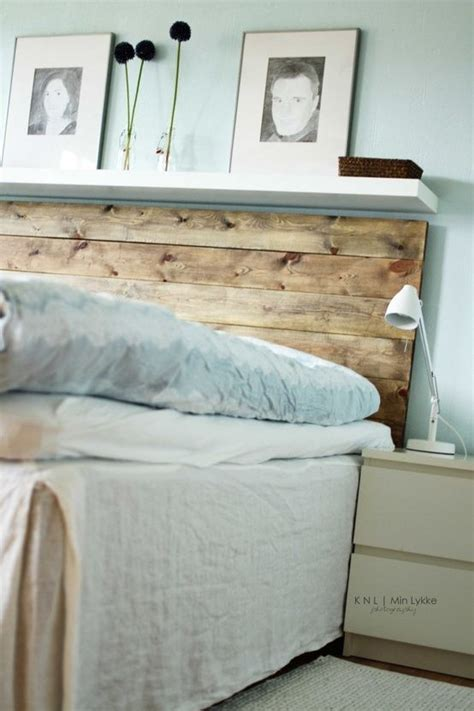 diy headboard with shelves use more weathered wood with small shelf from ikea my