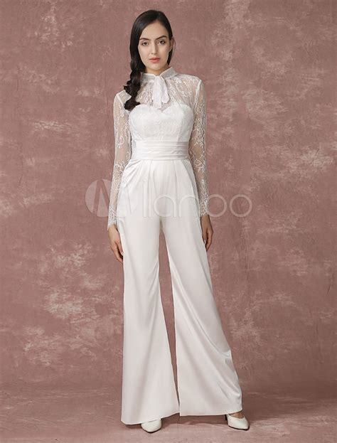 braut jumpsuit spitze lace wedding jumpsuits long sleeves bridal wedding pants