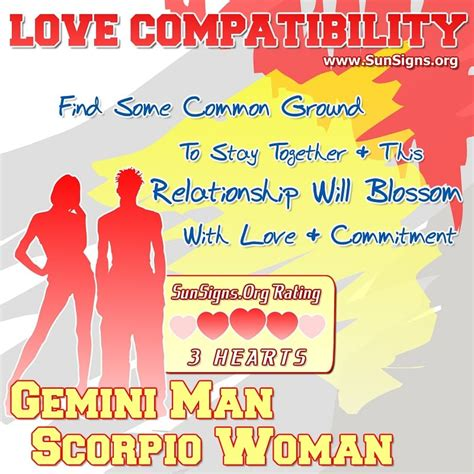 gemini man and scorpio woman love compatibility sun signs