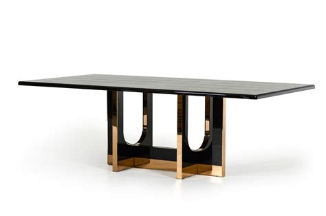 large modern dining room table a x padua modern large black crocodile rosegold dining