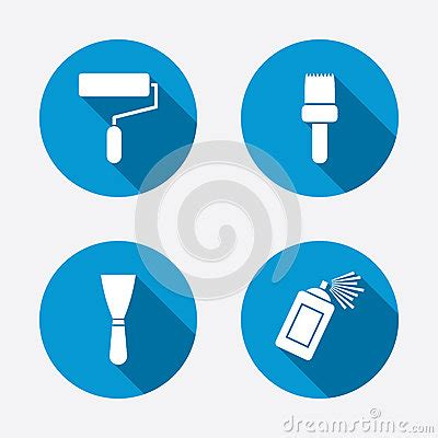 paint roller, brush icon. spray can and spatula stock