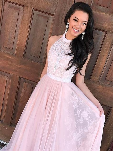 Halter Sleeveless Lace Dress a line princess sleeveless halter tulle lace sweep brush