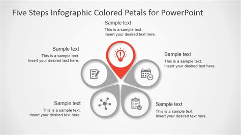 Five Steps Infographic Colored Petals Free Powerpoint Ppt Diagram Template Free With