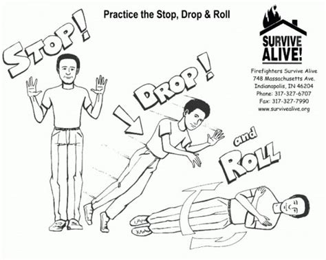 stop drop and roll pages coloring pages