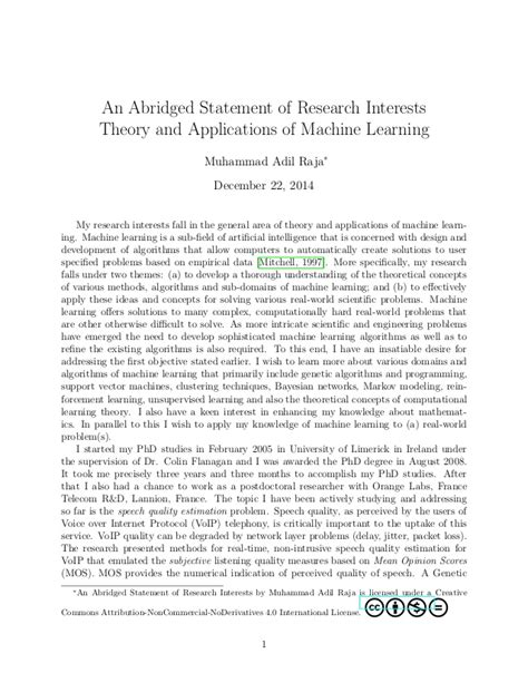 Research Interests Letter An Abridged Version Of My Statement Of Research Interests