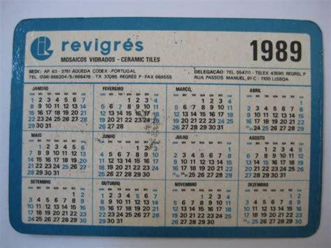 Calendario De 1989 Calend 225 De Bolso Antigo 1989 R 5 00 Em Mercado Livre