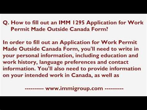 Work Permit After Mba In Canada by Temporary Resident Visa Application Form Imm 5257