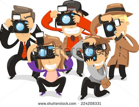 paparazzi taking pictures photograph camera vector stock