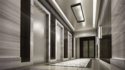 Travertine Elevator Interiors by Unique Ceiling Ideas Modern Hotel Room Space Modern