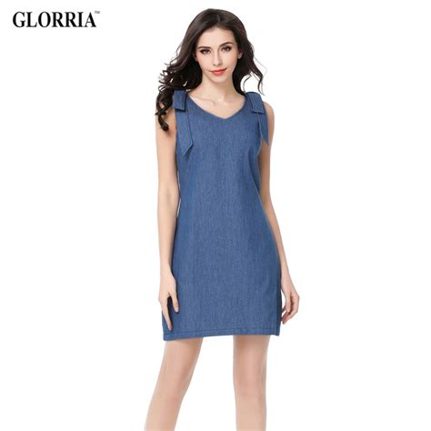 Casual Fashion Dress glorria denim v neck shoulder sleeveless dress summer casual fashion a line mini