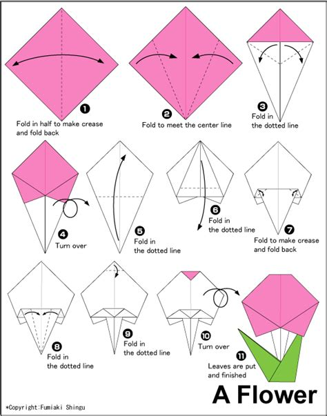 Simple Origami For Children - flower easy origami for