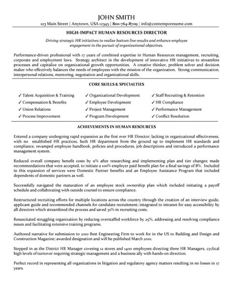 Resume Sles For Human Resources Director Of Human Resources Resume