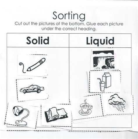 Solids Liquids And Gases Worksheets Middle School by Sorting Solids And Liquids Worksheet Questions