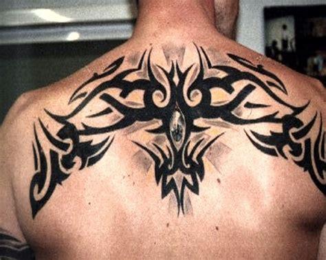 Shoulder Cap Fan Tattoo Patterns Upper Back Tribal Shoulder And Back Tattoos For Guys