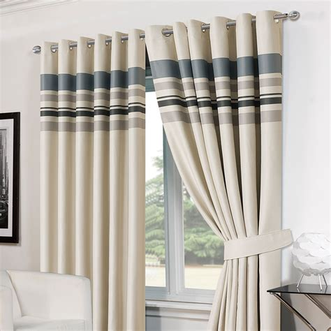 gray thermal curtains striped pair eyelet ready made blackout curtains tiebacks