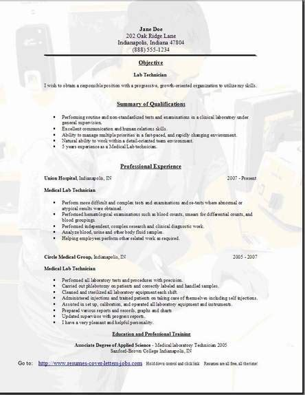 Lab Technician Resume by Lab Technician Resume Occupational Exles Sles Free