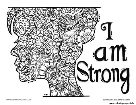 strong sheets adult zen and anti stress i am strong coloring pages printable
