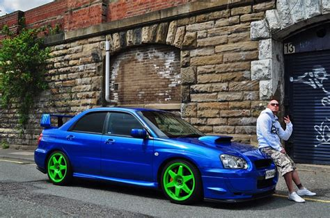 blue subaru gold rims subaru wrx sti blue with green rims unsorted 215 whip
