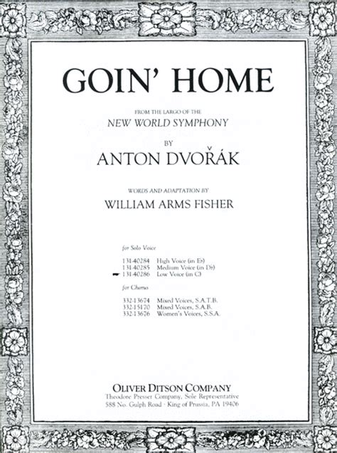 goin home sheet by antonin dvorak sheet plus