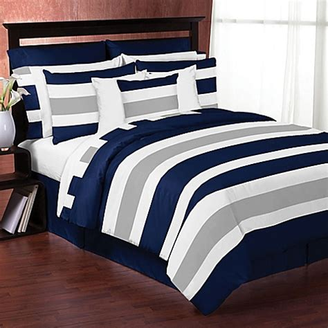 Navy Striped Bedding by Sweet Jojo Designs Navy And Grey Stripe Bedding Collection