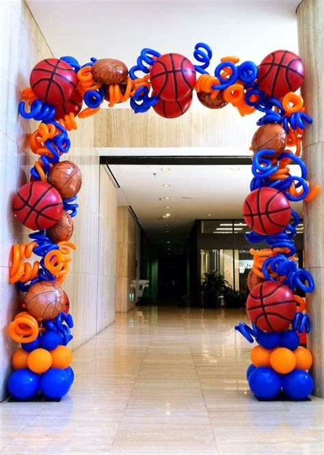 sports themed balloon decor basketball arch jpg balloon arches dallas