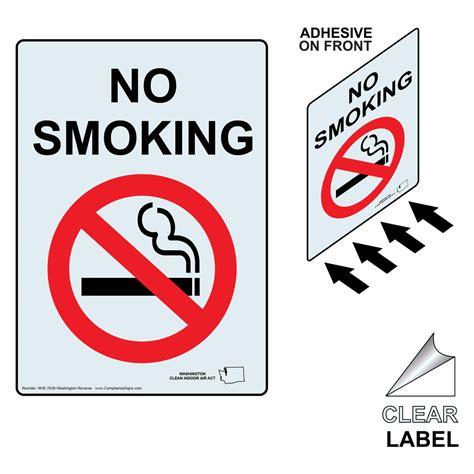 no smoking sign washington state no smoking label nhe 7626 washington reverse no smoking