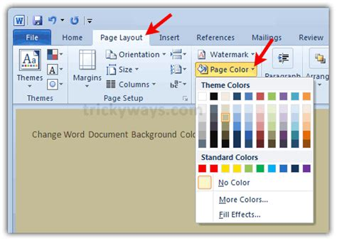 how to change background color of a word document office