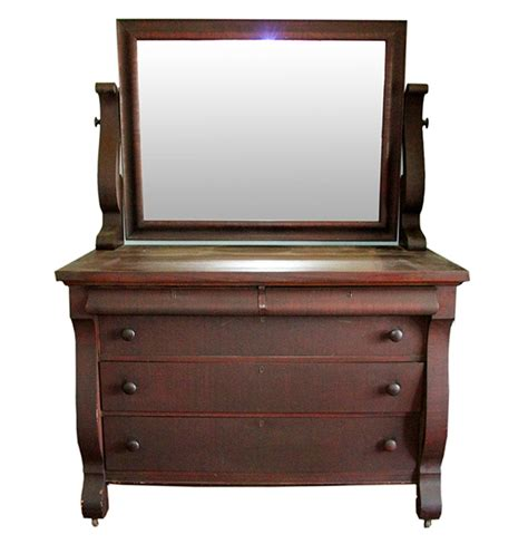 Mahogany Dresser Mirror by Antique Mahogany Empire Revival Style Dresser With Mirror Ebth