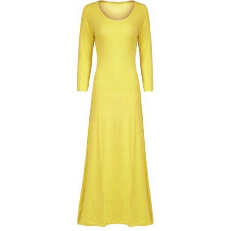 00 Maxi Cemara Ada 3 Warna Fit L Vr womens maxi dress 3 4 sleeve stretchy flared swing dresses ebay