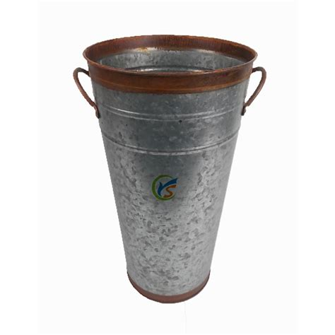 galvanized tin container bucket round tall flower pots
