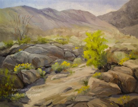 Anza Borrego Wildflowers by California Desert Landscape Oil Painting Wildflower Art