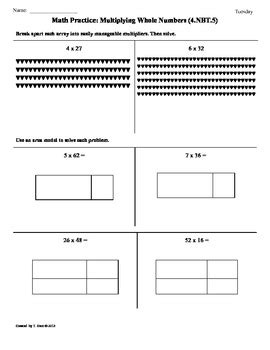 4 Nbt 5 Worksheets by 4 Nbt 5 Multiplying Whole Numbers 4th Grade Common
