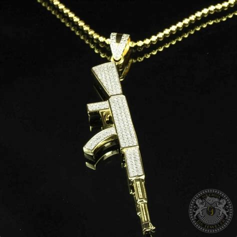 ak 47 gun pendant necklace bead 24in chain lab