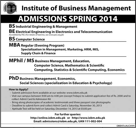 Mba Admission In Karachi 2016 by Iobm Admission 2016 Bs Be Ms Mba Mphil Phd