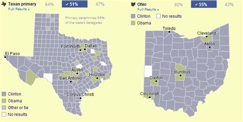 texas to ohio map election 2008 presidential senate and house races updated daily