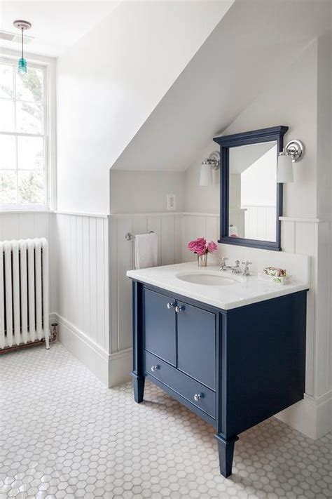 Navy washstand with navy mirror transitional bathroom