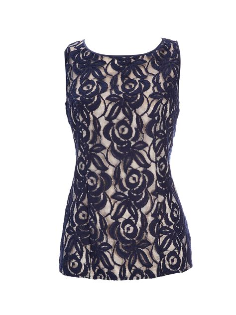Blue Lace Top wallis navy lace shell top in blue navy lyst